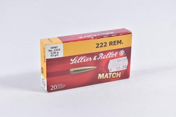 Munition bleihaltig Sellier & Bellot 52 grs HPBT 20STK .222Rem.