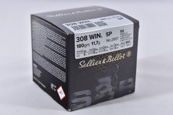 Munition bleihaltig Sellier & Bellot 180grs TM 50STK .308Win